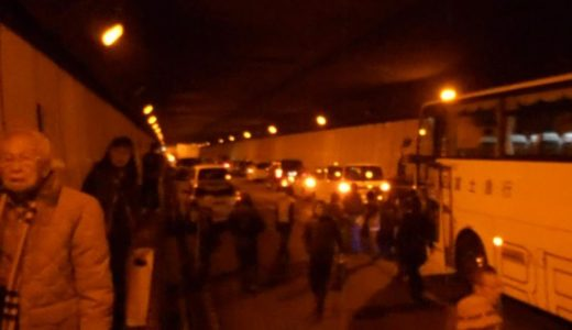 笹子トンネル内崩落事故 崩落直後のトンネル内の様子