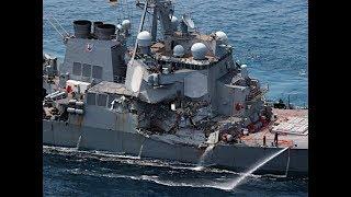 米イージス艦とコンテナ船衝突=時事通信ヘリより