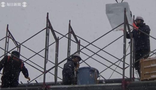 さっぽろ雪まつり 毎日新聞氷の広場で制作進む