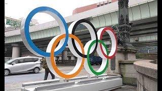 街にエンブレムや五輪マーク=祭典1年前、東京・日本橋を装飾