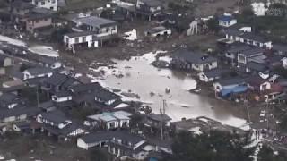 【台風19号】15日午前の被災地を空撮 決壊した千曲川の堤防