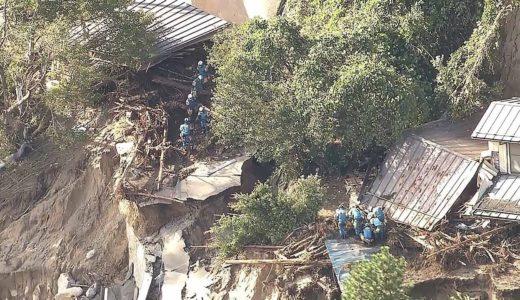 台風19号 捜索が続く宮城県丸森町の土砂崩れ現場