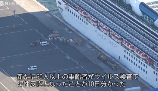 空撮:横浜のクルーズ船、新たに60人超に陽性反応