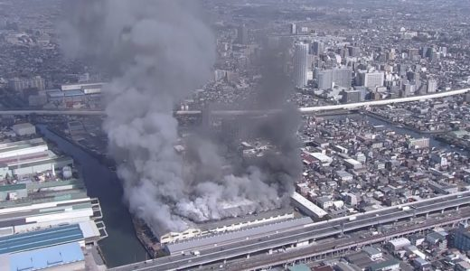 千葉・船橋で工場火災、黒煙上がる けが人はなし