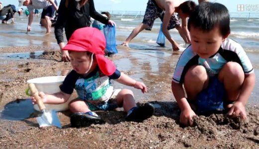 緊急事態宣言解除受け潮干狩場が再開 兵庫県姫路市