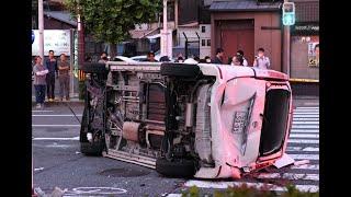 パトカー追跡中のワゴン車とタクシーが衝突、4人けが 京都
