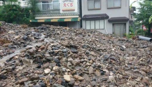 熊本・杖立温泉、全旅館に被害 道にも岩石・流木 降り続く不安な雨
