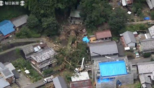 空撮:樹齢1200年以上 高さ40m超の神木倒れる 岐阜・瑞浪の大湫神明神社、豪雨影響か