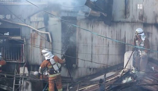 大阪・西成で工場火災