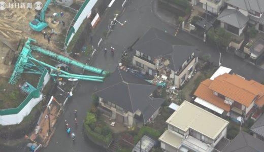 大型重機が倒れ民家に接触 団地の解体工事中 大阪